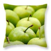 Green Plums Throw Pillow