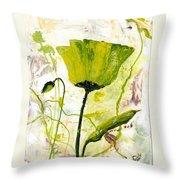 Green Poppy 003 Throw Pillow