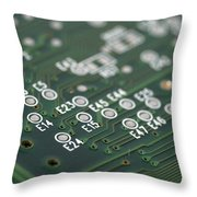 Green Printed Circuit Board Closeup Throw Pillow