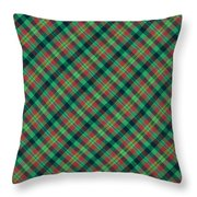 Green Red And Black Diagonal Plaid Textile Background Throw Pillow