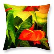 Green Red Throw Pillow