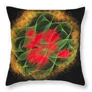 Green Red Gold Abstract Throw Pillow