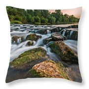 Green Rocks Throw Pillow by Davorin Mance