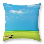 Green Sea And Boats Throw Pillow