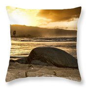 Green Sea Turtle At Sunset V2 Throw Pillow
