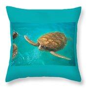 Green Sea Turtle Surfacing Throw Pillow