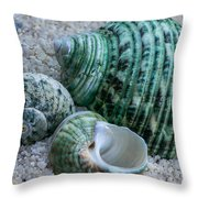 Green Seashells Throw Pillow
