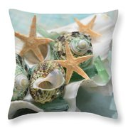 Green Shells And Sea Glass Throw Pillow