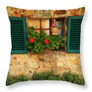 Green Shutters And Window In Chianti Throw Pillow