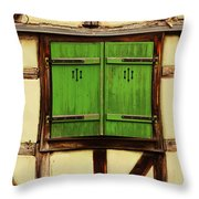 Green Shutters In Colmar France Throw Pillow