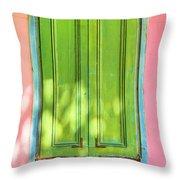 Green Shutters Pink Stucco Wall 2 Throw Pillow