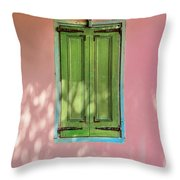 Green Shutters Pink Stucco Wall Throw Pillow