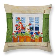 Green Shutters With Red Flowers Throw Pillow