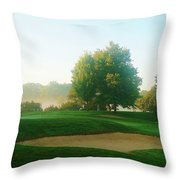 Green Side At Sunrise Throw Pillow