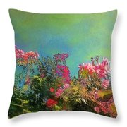 Green Sky With Pink Bougainvillea - Square Throw Pillow