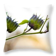 Green Spiky Wild Flowers Throw Pillow