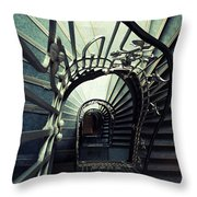 Green Spiral Staircase Throw Pillow