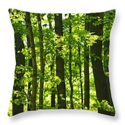 Green Spring Forest Throw Pillow