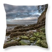 Green Stone Shore Throw Pillow