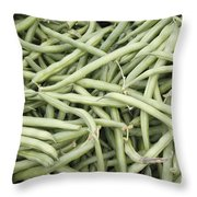 Green String Beans Display Throw Pillow