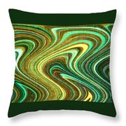 Green Swirls Mind Bend Throw Pillow
