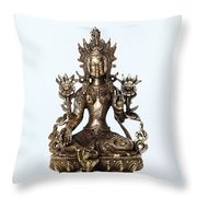 Green Tara Goddess Statue Throw Pillow