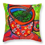 Green Tea In Red Cup Throw Pillow