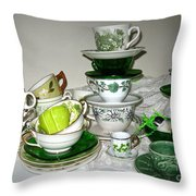 Green Teacups  Throw Pillow