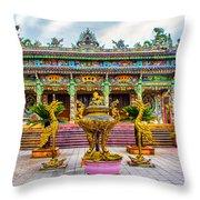 Green Temple Throw Pillow
