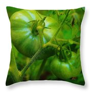 Green Tomatos Throw Pillow