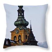Green Tower Throw Pillow