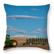 Green Tractor Throw Pillow