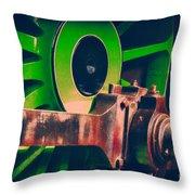 Green Train Wheel Throw Pillow