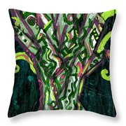 Green Tree With Pink Watercolor Throw Pillow