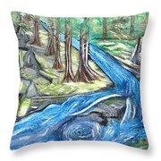 Green Trees With Rocks And River Throw Pillow