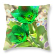 Green Tulips Throw Pillow