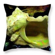 Green Turban Seashell Throw Pillow