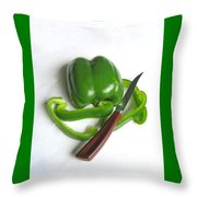 Green Veggie Munchie Throw Pillow