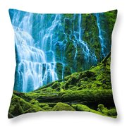 Green Waterfall Throw Pillow