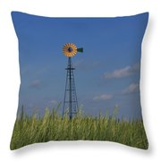 Green Wheat  Field With Green And Yellow Windmill Throw Pillow