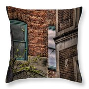 Green Widows And Leaves Throw Pillow