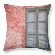 Green Window On Red Wall. Throw Pillow