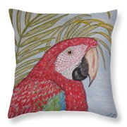 Green Winged Macaw Throw Pillow