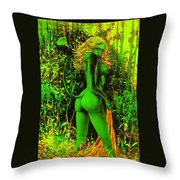 Green Wood Nymph Throw Pillow