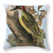 Green Woodpecker Throw Pillow