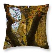 Green Woodpecker Richmond Park Throw Pillow