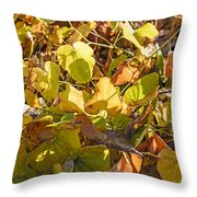 Green Yellow And Dry Leaves Throw Pillow