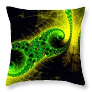 Green Yellow Black Abstract Fractal Art Vivid Colors Throw Pillow