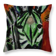 Green Zebra Stripes  Throw Pillow