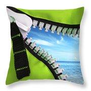 Green Zipper Throw Pillow